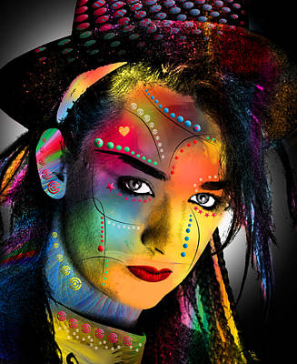 Digital Face Digital Art - Boy George  by Mark Ashkenazi