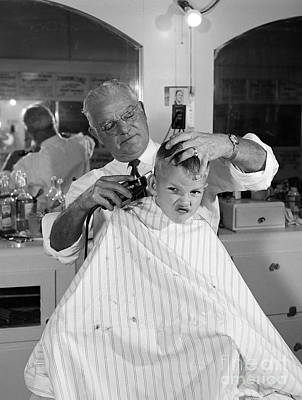 Electric Razor Photograph - Boy Getting A Haircut, C.1950s by B. Taylor/ClassicStock