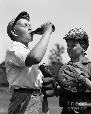 Boy Hogging Soda, C.1930s Art Print by H. Armstrong Roberts/ClassicStock