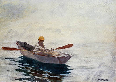 Boats In Water Drawing - Boy In A Boat by Winslow Homer