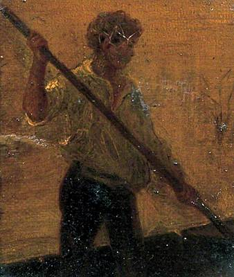 Print featuring the painting Boy In A Punt by Henry Scott Tuke