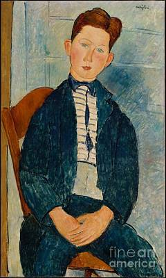 Paris Painting - Boy In A Striped Sweater  by Celestial Images