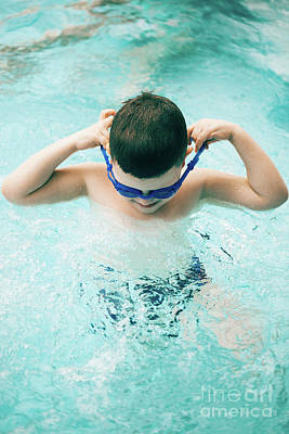 Photograph - Boy In A Swimming Pool With Diving Goggles by Michal Bednarek