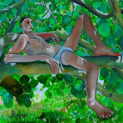 Boy In A Tree Print by Angie Wright