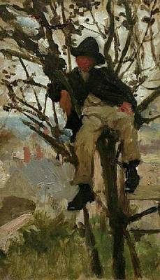 Print featuring the painting Boy In A Tree by Henry Scott Tuke
