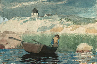 Lighthouse Sea Painting - Boy In Boat Gloucester by Winslow Homer