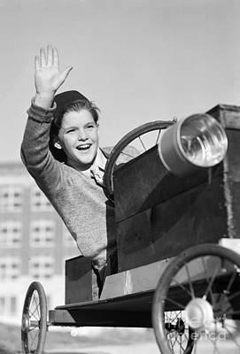 Boy In In Go-cart, C.1940-30s Print by Debrocke/ClassicStock
