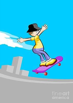 Skateboard Digital Art - Boy In Skating Park Flying With His Violet Skateboard by Daniel Ghioldi