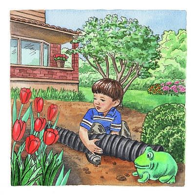 Tulips Watercolor Wall Art - Painting - Boy In The Garden Helping Parents by Irina Sztukowski