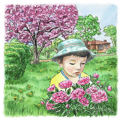 Painting - Boy In The Spring Garden by Irina Sztukowski