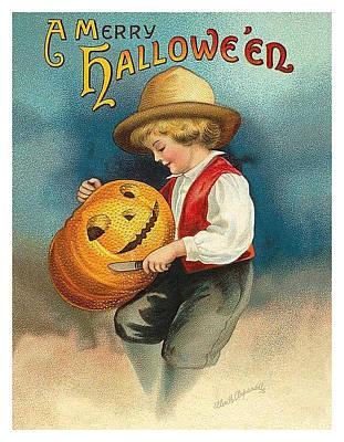 Pumpkin Art Card Mixed Media - Boy Is Carving A Pumpkin by Long Shot