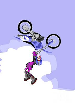 Speed Digital Art - Boy Jumping High With His Blue Motocross by Daniel Ghioldi