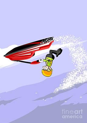 Motor Digital Art -  Boy Jumping Over The Sea In A Red Jet Ski by Daniel Ghioldi