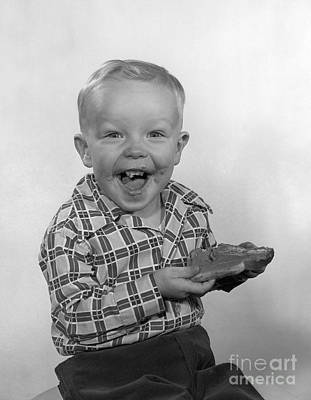 Boy Laughing With Bread, C.1950s Art Print by H. Lefebvre/ClassicStock