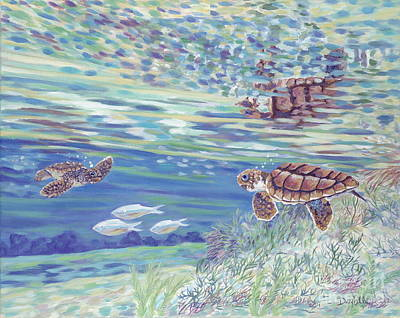 Baby Sea Turtle Painting - Boy Meets Girl by Danielle  Perry