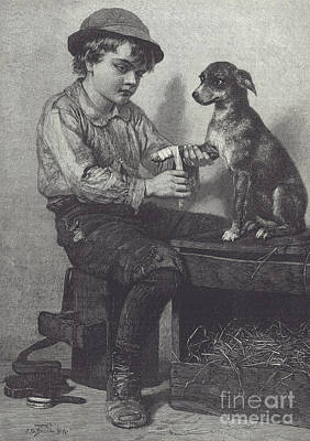 Straw Hat Drawing - Boy Mends Dog's Leg by British School