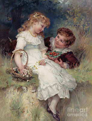 Strawberries Drawing - Boy Offering Wild Strawberries To His Girl Friend by English School
