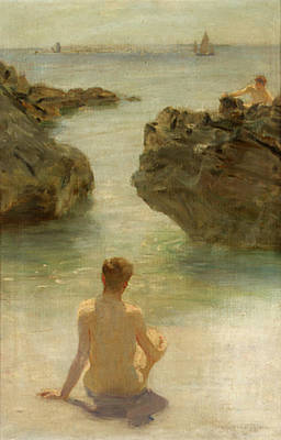 Print featuring the painting Boy On A Beach, 1901 by Henry Scott Tuke