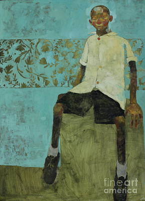 Olivia Painting - Boy On Barrel - Kengeme Slum by Olivia Pendergast