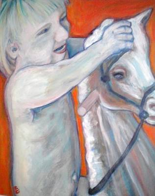 Boy On Rocking Horse Art Print
