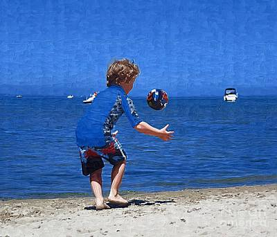 Boy On The Beach Art Print by Deborah Selib-Haig DMacq