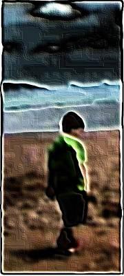 Devon Mixed Media - Boy On The Beach by Gra Howard