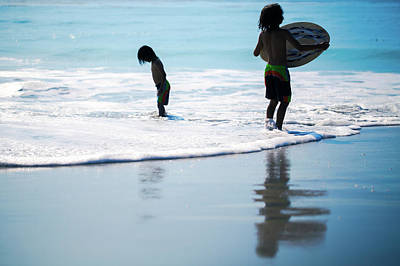 Boy On The Beach With Surf Board,skimboard,and Wave From The Pac Art Print by Jingjits Photography