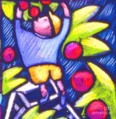 Boy Picking Apples Art Print by Angelina Marino