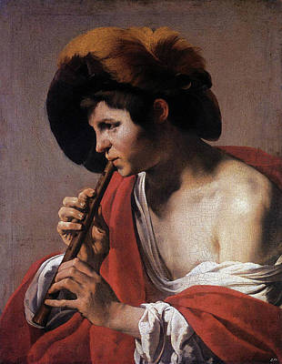 Painting - Boy Playing A Recorder  by Hendrick ter Brugghen