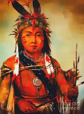 Painting - Boy Portrait - Ojibwe/chippewa Tribe by Ian Gledhill