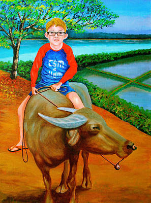 Painting - Boy Riding A Carabao by Cyril Maza