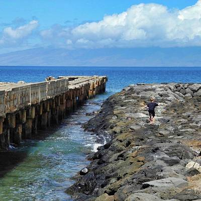 Photograph - Boy Running On The Breakwater by Kirsten Giving