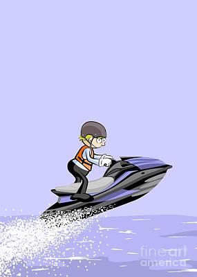 Race Digital Art -  Boy Sailing Fast On A Blue Jet Ski Over The Sea by Daniel Ghioldi