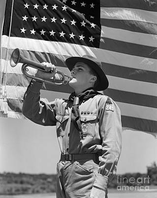 Photograph - Boy Scout And American Flag, C.1940s by H Armstrong Roberts ClassicStock