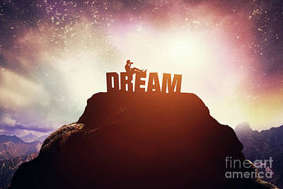 Photograph - Boy Sitting On A Dream Writing On The Peak Of A Mountain. by Michal Bednarek