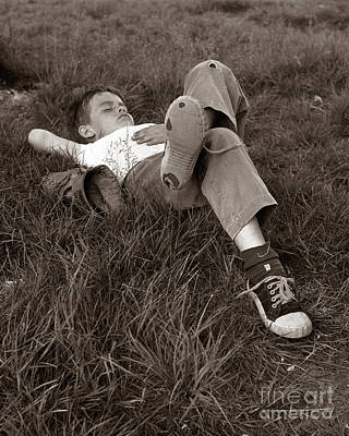 Boy Sleeping In The Grass, C.1960s Art Print