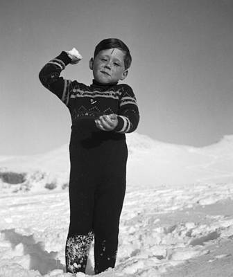 Snowball Fight Photograph - Boy Throwing A Snowball by German School