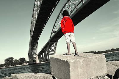 Boy Under Bridge Art Print