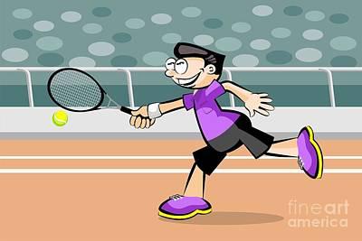Tennis Digital Art - Boy Wearing Violet T-shirt Plays Tennis On Red Brick Court by Daniel Ghioldi