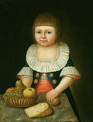 Landmarks Painting Royalty Free Images - Boy With A Basket Of Fruit Royalty-Free Image by American 18th Century