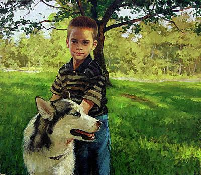 Painting - Boy With A Dog by Sergey Zhiboedov