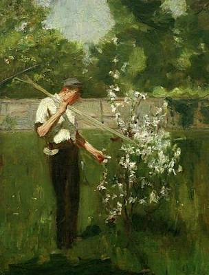 Print featuring the painting Boy With A Grass Rake by Henry Scott Tuke
