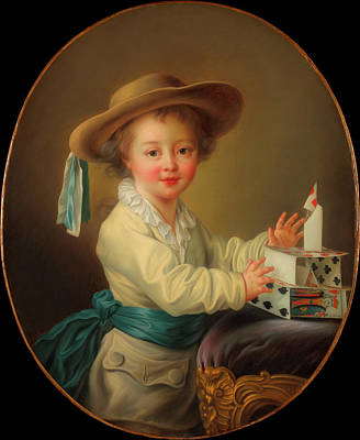 Painting - Boy With A House Of Cards                                   by Francois Hubert Drouais