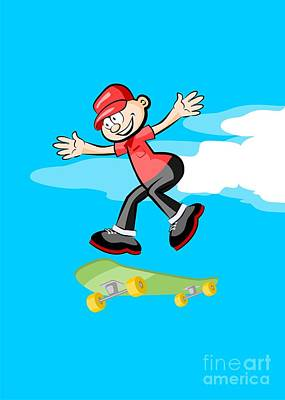 Boy With A Red Cap Sports Happily Jumping With His Green Skateboard Art Print