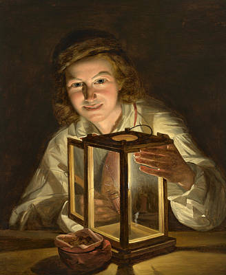 Painting - Boy With A Stable Lantern by Ferdinand Georg Waldmuller