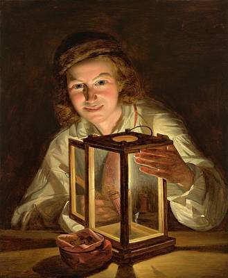 Night Lamp Painting - Boy With A Stable Lantern' by MotionAge Designs