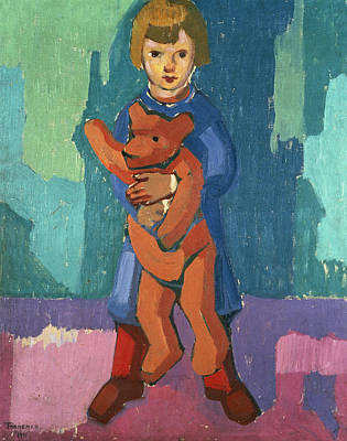 Toddler Portrait Painting - Boy With A Teddy Bear by Axel Torneman