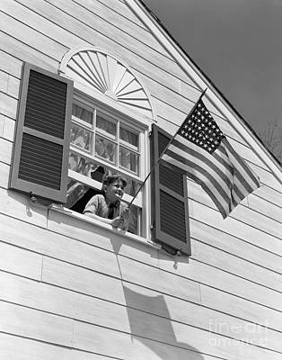 Window Display 1940s Photograph - Boy With American Flag, C. 1940s by H. Armstrong Roberts/ClassicStock