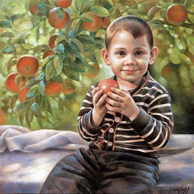 Painting -  Boy With Apple by Arthur Braginsky