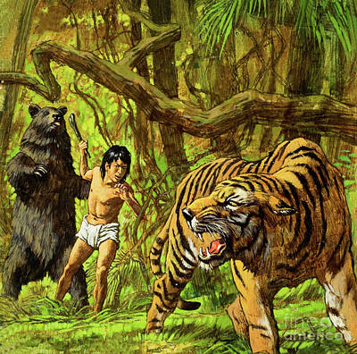 Predatory Painting - Boy With Bear And Tiger  by English School